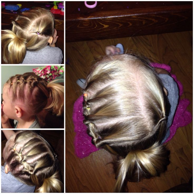 Toddler hairdo: 1) take a small section of hair from the part toward the ear, topsy tail it in the direction toward the back of the head. 2) take another section from the part toward the ear. Include the first pony tail into the second section. Topsy tail it all in the direction toward the back of the head. 3) continue steps 1 and 2 until you get to the crown of the head. 4) take the hair on the R side of the head and make a small pony tail. 5) join all the hair into one large ponytail and…