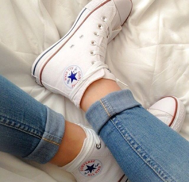 obsessed with the chuck taylor white high top converse sneakers.. they go with everything!