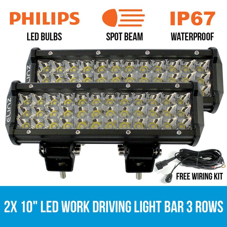 """2x 10"""" LED Work Driving Light Bar Philips 3 Rows Spot Offroad 12V 24V Truck 4WD"""