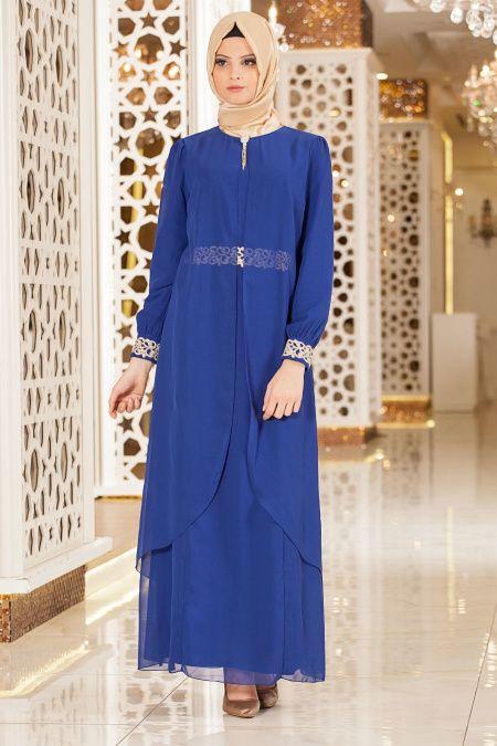 23ccc9567af35 Nayla Collection - Tüllü Dantel Detaylı Mavi Tesettür Elbise 95843SX ...