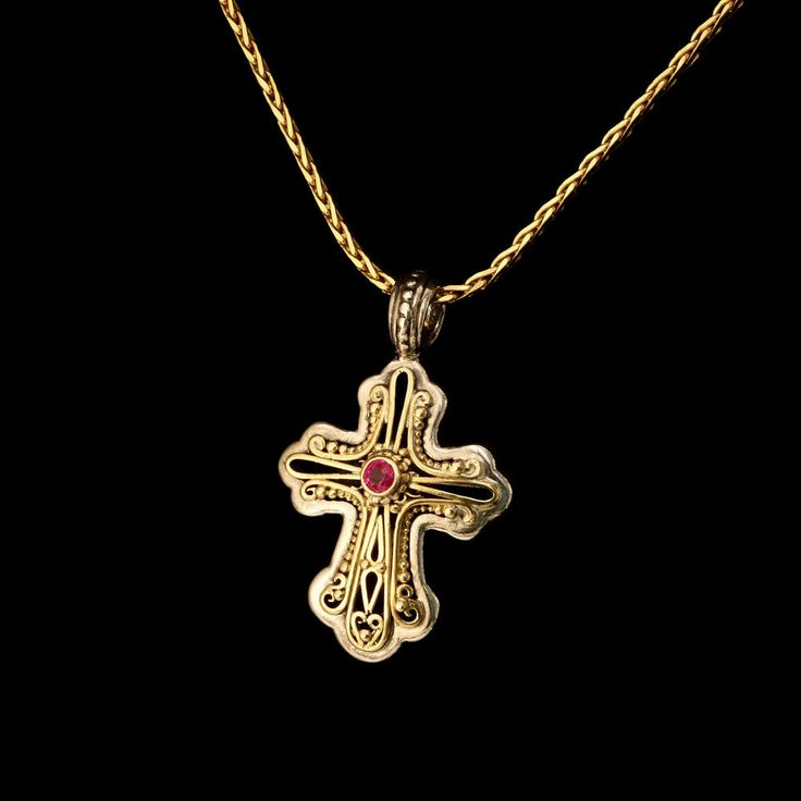 Gerochristo 925 Silver and 18K Gold Byzantine Handmade Cross and Ruby #Gerochristo #Cross