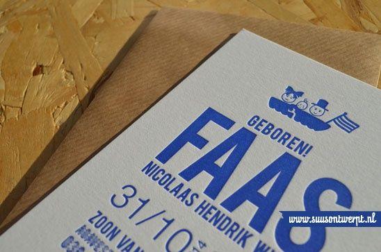 letterpresskaartje Detail #craft enveloppe - Birth announcement letterpress by #suusontwerpt