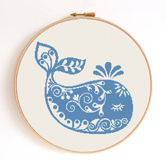 Ornament Baby Whale Silhouette Counted Cross Stitch by SimpleSmart, $5.00