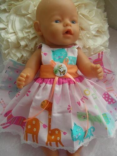 BABY BORN DOLL NEW CLOTHES ANIMAL PRINT  SUN DRESS