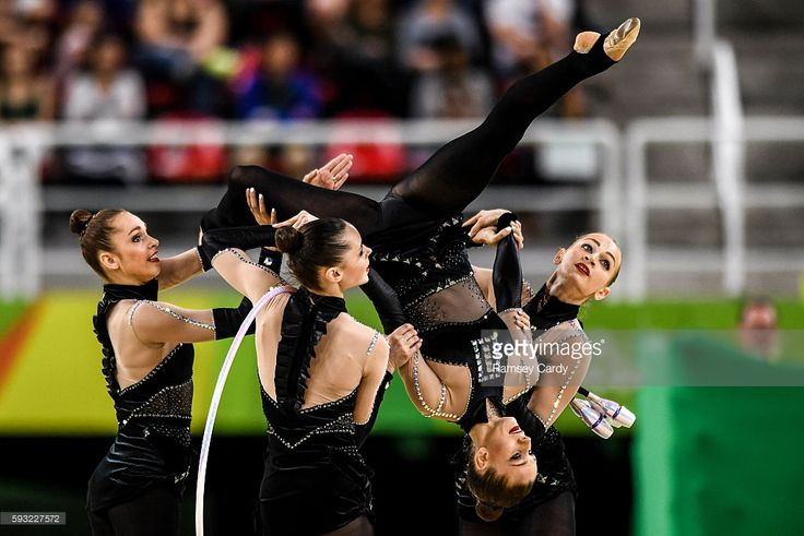 Rio , Brazil - 21 August 2016; The Ukraine team competing during the Rhythmic Gymnastics Group All-Around Final in the Rio Olympic Arena during the 2016 Rio Summer Olympic Games in Rio de Janeiro, Brazil.
