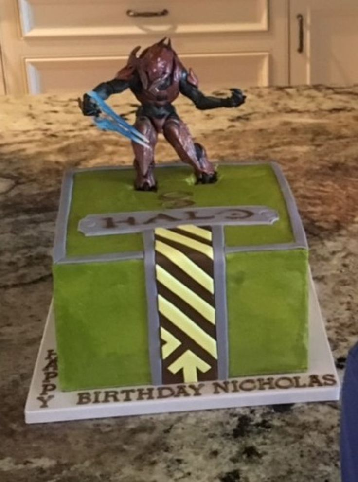 Halo video game themed cake