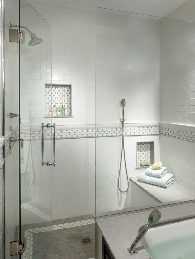 Subway tile with marble in niche? Decor - Master Bath Bathroom