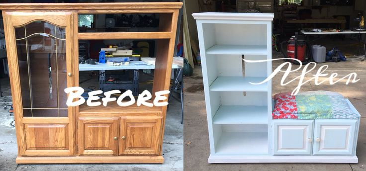 DIY Repurposed entertainment center                                                                                                                                                                                 More