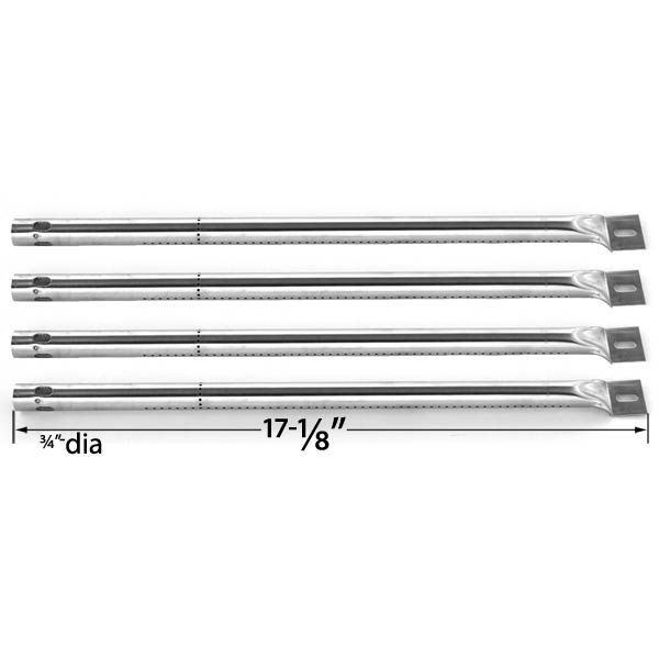 REPLACEMENT 4 PACK STAINLESS STEEL BURNER FOR SURE HEAT, AMANA, SUREFIRE, TUSCANY, COSTCO GAS GRILL MODELS Fits Compatible Sure Heat Models : AM30 Sure Heat, AM30LP Dimensions : 17 1/8 x 3/4 Dia, Material : Stainless Steel