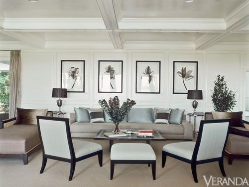 Jennifer Lopez- Right-arm and left-arm chaises provide an alternative to club chairs. Chaises in Castel silk. Sofa in Schumacher linen. Chairs and ottoman in Schumacher moiré. Sofa pillows in Kravet fabrics. Chaise pillows in mink. Side tables, Global Views. Lamps, Arteriors Home. Watercolors, Karla Davison. Curtains in Nancy Corzine fabric.