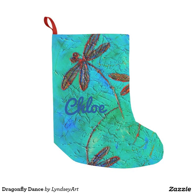 Dragonfly Dance Christmas Stocking Gorgeous red, orange, blue and bronze dragonflies on a blended turquoise green and blue background. From my original dragonfly artwork. Personalize with your own text! LyndseyArt.