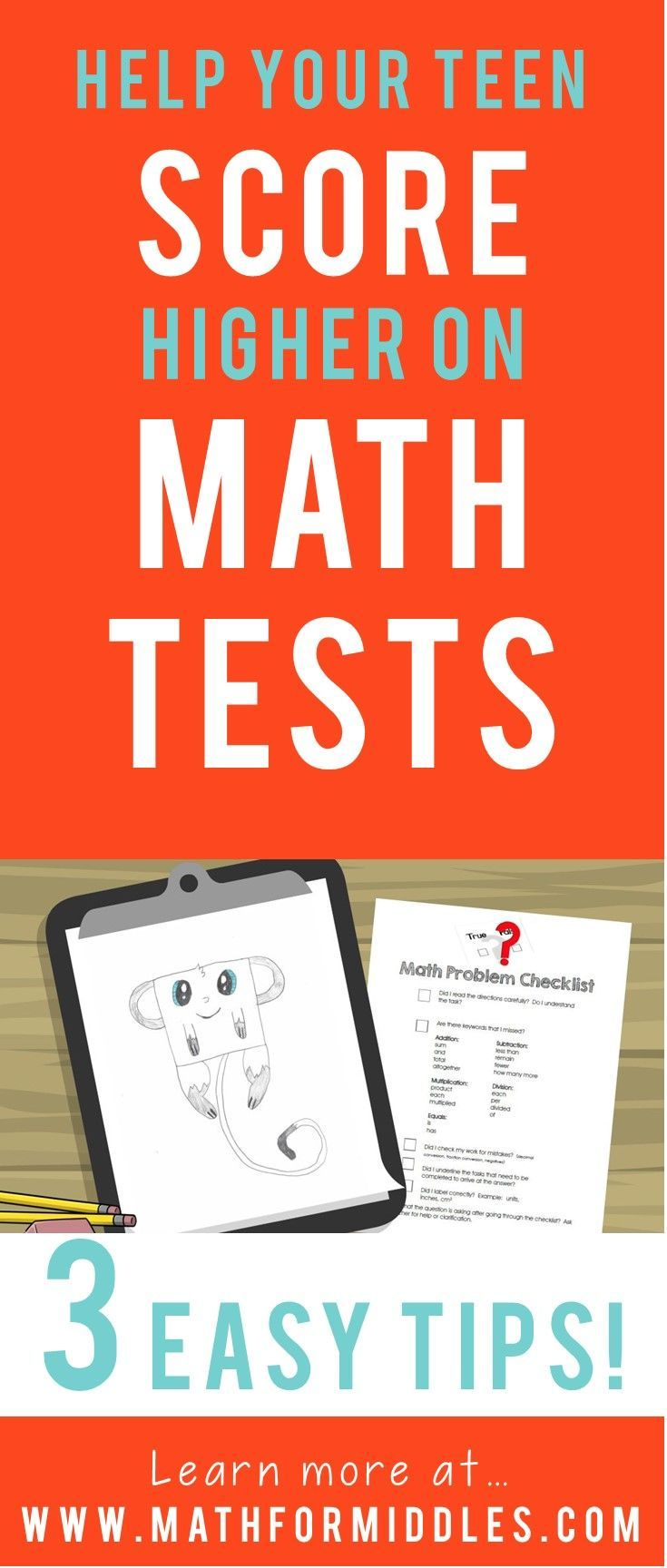 Teach Your Middle School Child to Score Better on Math Tests #parenting #middleschool #math
