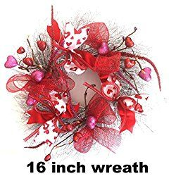 Small Valentine's Day Wreath - Handcrafted 16 inches 5 inches deep