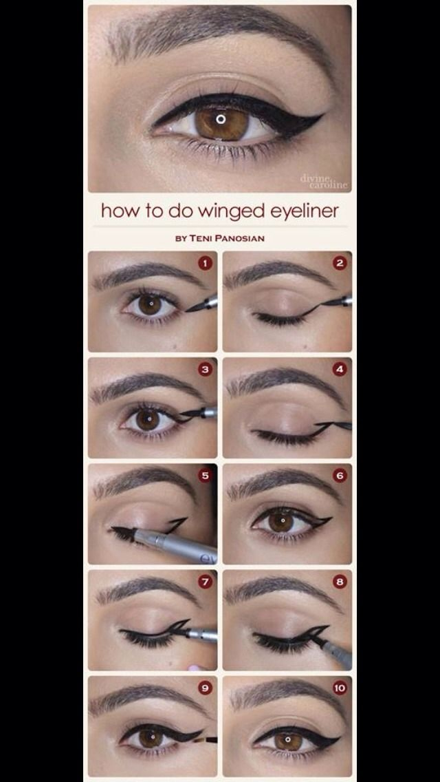 Step By Step Winged Eyeliner