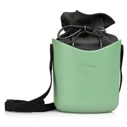 O Basket - Sage with Black Faux Strap and Black Canvas Insert