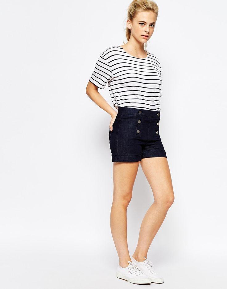 Oasis Button Down Denim Shorts