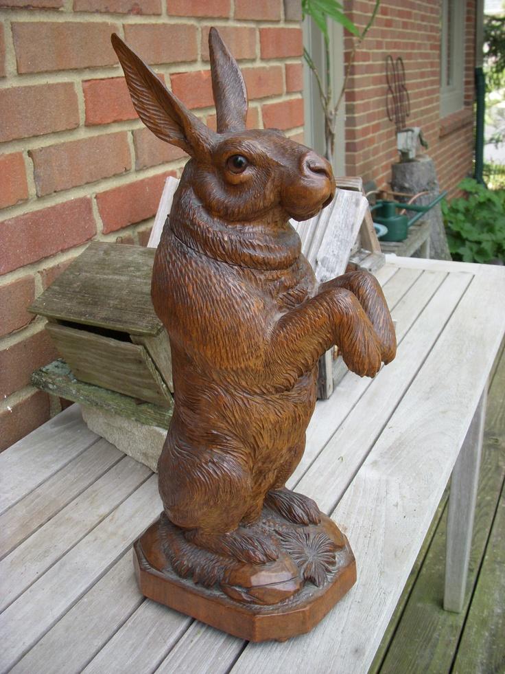 Black Forest Rabbit or Hare Tobacco Box  Switzerland Circa 1890. Alpenholz Antiques
