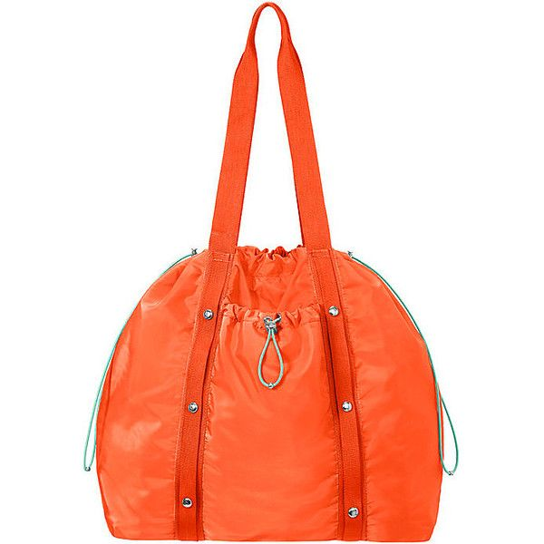 Baggallini Tempo Tote ($88) ❤ liked on Polyvore featuring bags, handbags, tote bags, orange, draw string pouch, tote handbags, orange tote bag, drawstring tote and nylon pouch