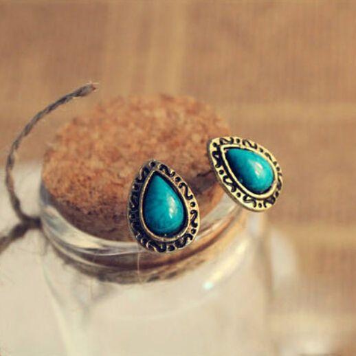10 dolarów (mieszać rozkaz) Darmowa Wysyłka Hot Europejska I Amerykańska Biżuteria Retro Niebieski Turkusowy Wody Stadniny Kolczyki