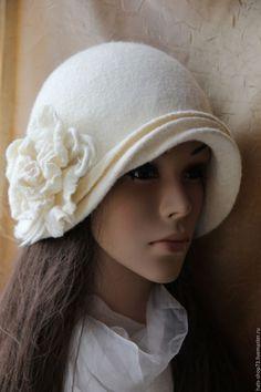 Шляпы ручной работы. Ярмарка Мастеров - ручная работа. Купить Валяная шляпка Белая Роза. Handmade. Белый, женская шляпка