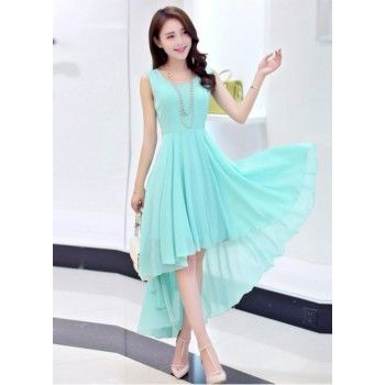 georgette-turquoise-plain-asymmetric-dress