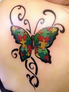 Autism theme butterfly tattoo | Tattoos by Shabazz pt.3 | Pinterest