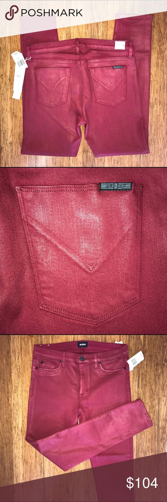 """💥Hudson Nico Midrise Superskinny sz 32 Amber Direct from warehouse, first quality. Hudson Nico in Mystic Amber is a midrise super skinny that includes a 9"""" front rise, a 10"""" leg opening and a 28"""" inseam.             Hudson calls the color """"amber"""" but it looks cranberry or maroon. Last photo is same jeans in another color to give an idea of fit.  ·    A NEW POWER STRETCH WITH A DEFINED TWILL AND SUPER SOFT HAND FEEL. 43% VISCOSE, 33% COTTON, 17% TENCEL, 5% POLYESTER, 2% ELASTANE ·    MIDRISE…"""