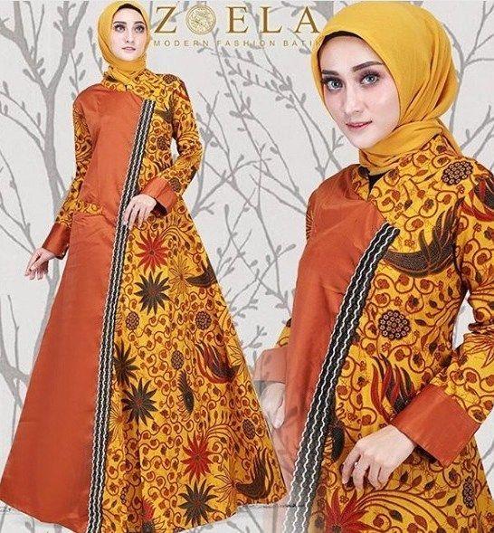 Model Gamis Batik Kombinasi Warna Hitam Wanita Model Pakaian Wanita Pakaian Wanita