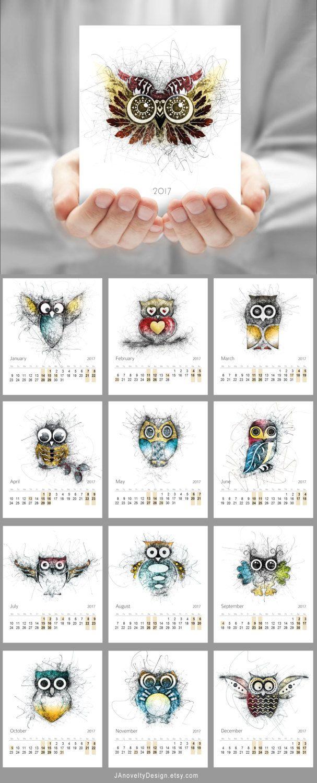 Calendar Owl drawing Desk calendar CD calendar by JAnoveltyDeSign