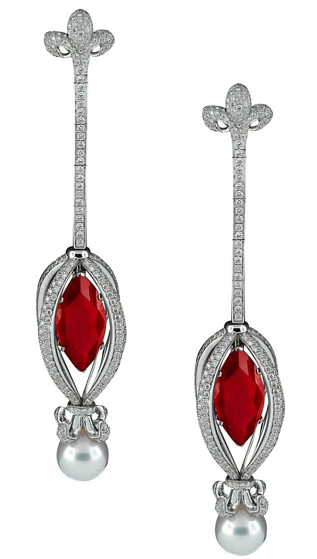 Diamond, ruby and pearl drop earrings.  Stunning.