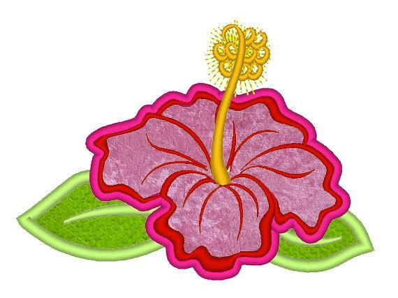 Hibiscus flower applique hawaii summer flower embroidery