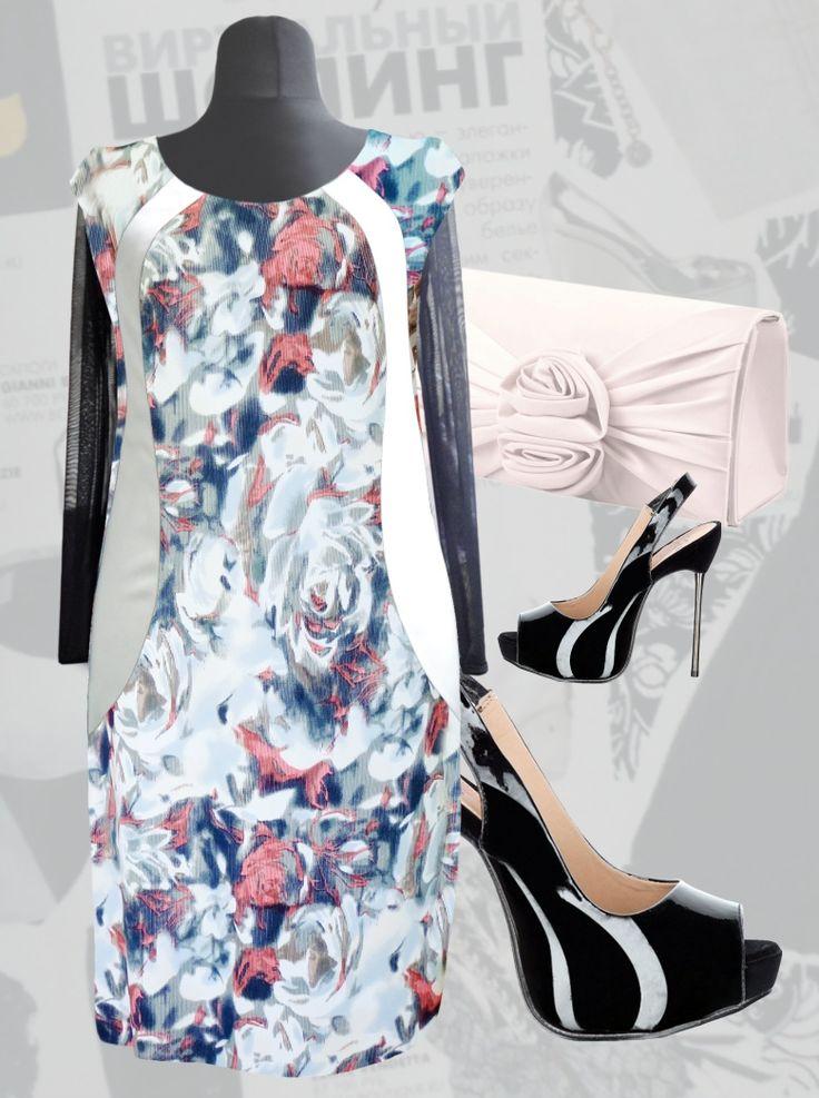 39$ Платье из турецкого трикотажа для полных женщин с цветочным стильным принтом, волнообразной атласной вставкой и рукавами из сетки Артикул 831,р50-64 Платья больших размеров  Платья нарядные больших размеров  Платья миди больших размеров  Платья весна больших размеров  Платья осень больших размеров  Дизайнерские платья больших размеров Красивые платья больших размеров  Модные платья больших размеров  Стильные платья больших размеров