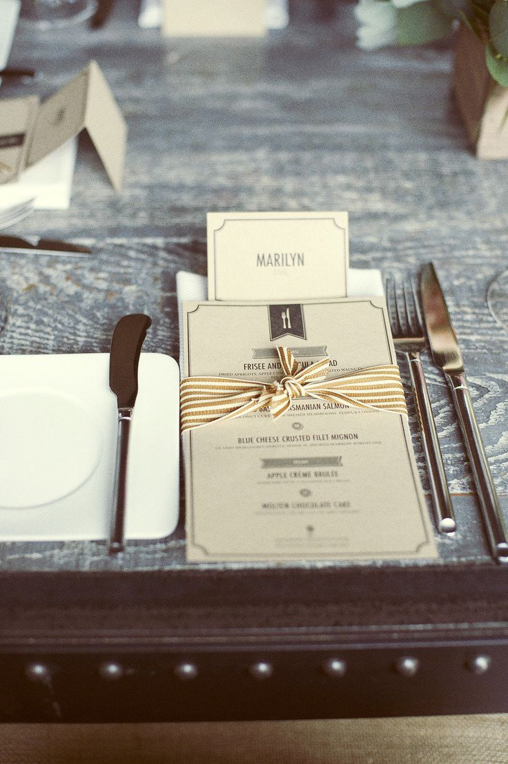 Rustic Masculine Wedding Tablescapes & Menu