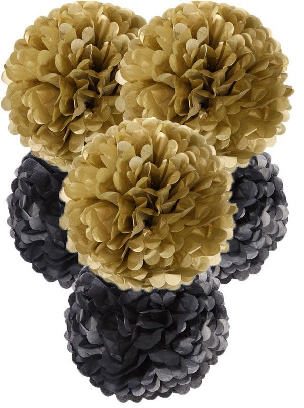 Large black & gold pom poms