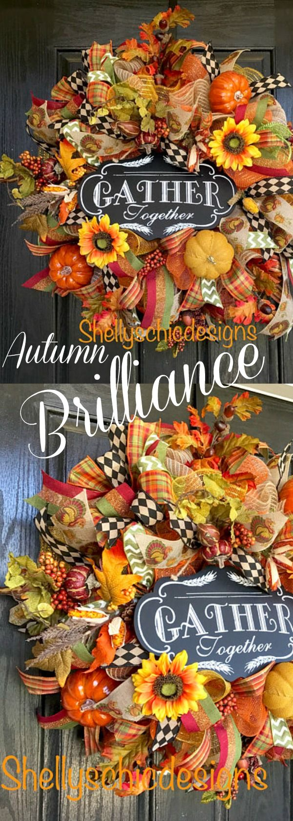 This Fall Deco Mesh Wreath is a great way to great your guests this Fall all through Thanksgiving. It is made with an orange, burlap,green, and yellow golden mesh. There are multiple fall ribbons throughout including sheer plaid, and turkey with pumpkins. Check out Shelly's Chic Designs for more beautiful creations! (contains affiliate link)