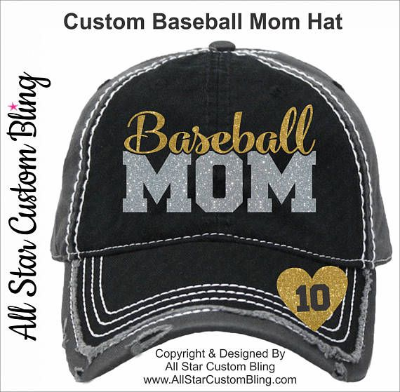 This distressed custom Baseball Mom Hat is our original design and comes complete with a player number inside the heart. You may select up to 2 glitter colors from the 3rd picture. You can view the hat features in the 4th picture. **This hat style is distressed like you see in the