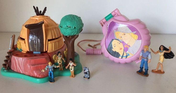 Vintage Polly Pocket Disney POCAHONTAS POWHATAN Playset & Locket COMPLETE #BluebirdToys #Tinydollplaysets