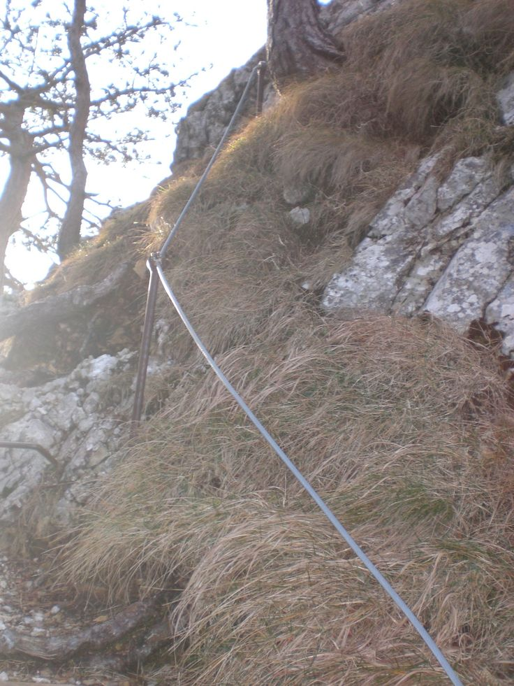 Well-secured steel cable helps the climb