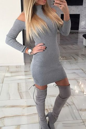 dress zefinka grey off the shoulder off the shoulder dress sexy bodycon dress  fall outfits boots tumblr tumblr outfit fall dress trendy warm lookbook d7869d5648c6