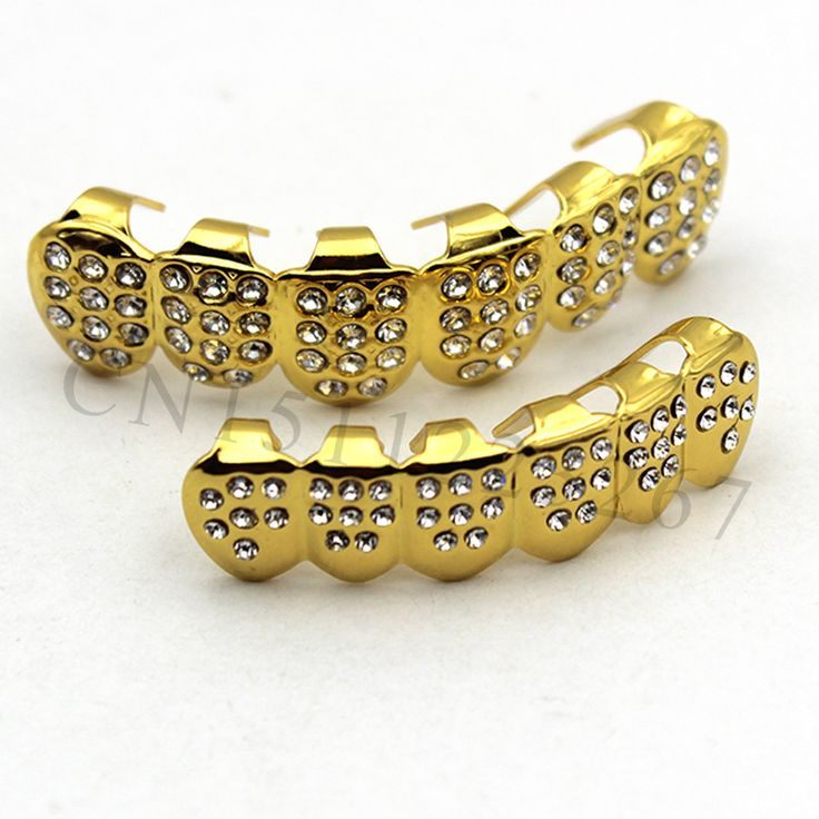 Gold Plated ICED OUT CZ Teeth GRILLZ Top Bottom Tooth Caps Hip Hop Bling NEW with Free mode Simulated Diamonds