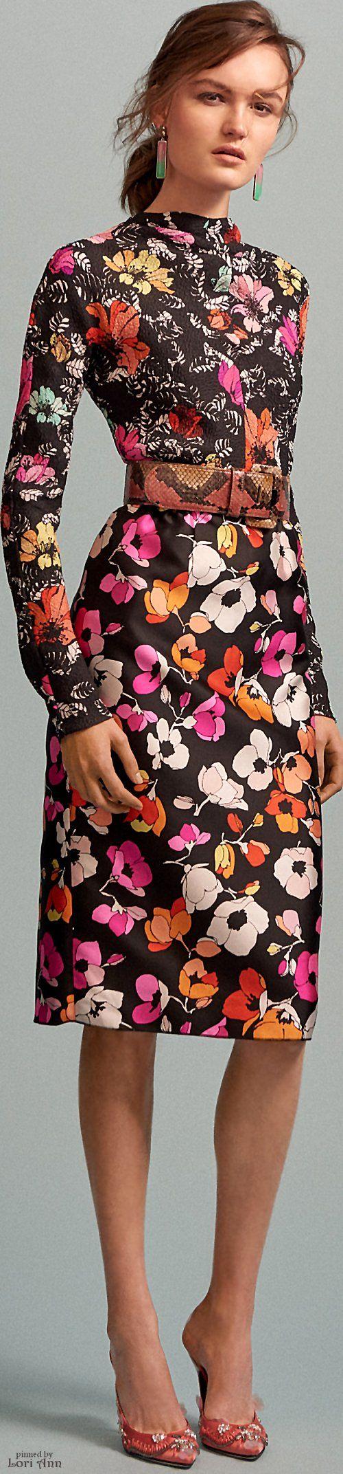 Oscar de la Renta Pre-Fall 2016 floral dress  women fashion outfit clothing style apparel @roressclothes closet ideas