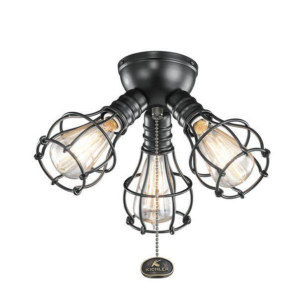 Kichler Industrial 3 Light Ceiling Fan Light Kit & Reviews | Wayfair - Best 10+ Ceiling Fan Light Kits Ideas On Pinterest Fan Lights