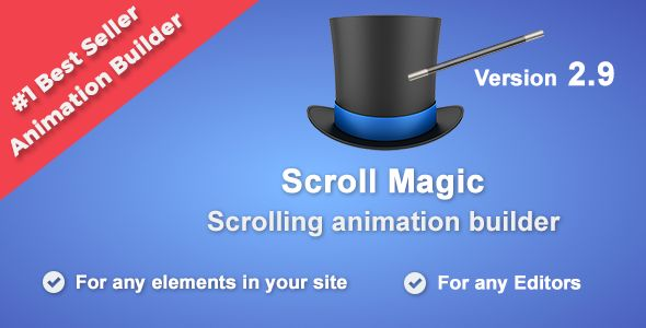 Scroll Magic - Scrolling Animation Builder Wordpress Plugin by BestBug This is Wordpress version of ScrollMagic.io jquery.Scroll Magic helps you to easily react to the user¡¯s current scroll position. It¡¯s the perfect plugin for you if you want to ¡Animate based on scroll position ¨C either trigger an