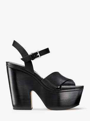 adc0cc3e6e2 Michael Michael Kors Divia Leather Platform Sandal  wedge