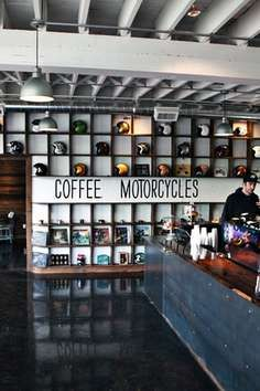 Coffee bar & Motorcycle shop. Featuring finely crafted Stumptown espresso drinks, loose leaf tea, breakfast, lunch & beer. Grab a coffee and browse a great selection of custom motorcycles, apparel, parts and safety gear. Open 7 days a week.  See See Motor Coffee Co. is one of the most eclectic shops in all of America. If you like motorcycles, coffee, and cool decor this place may be your heaven.
