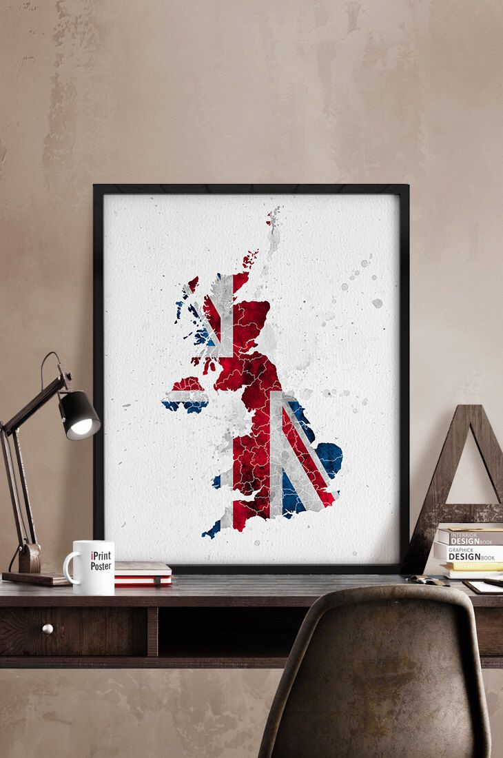 United Kingdom map, Print, UK flag, UK map poster, Watercolor print, Art, watercolour artwork, UK wall art, Home Decor, Gift, iPrintPoster by iPrintPoster on Etsy https://www.etsy.com/listing/233851988/united-kingdom-map-print-uk-flag-uk-map