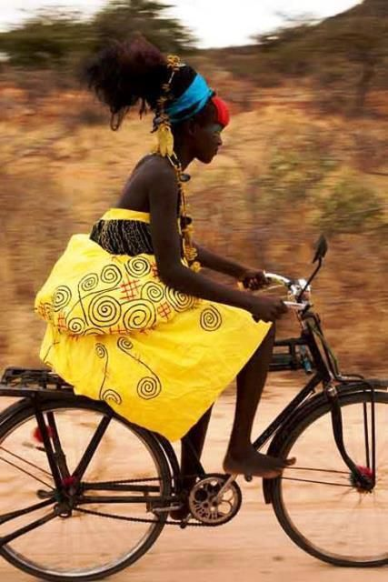 african fashion and bike