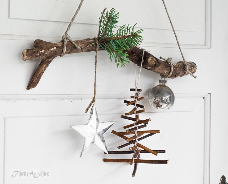 Love decorating with nature? Make this rustic twig Christmas tree ornament on a branch in minutes! Very easy, and a great kid craft! Other twig garlands too