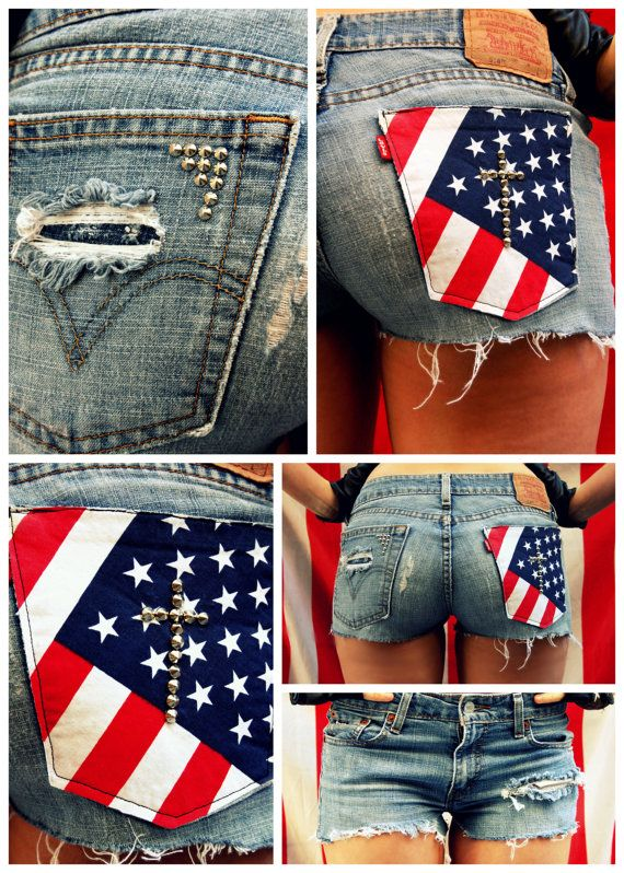 All American Shorts with American Flag Pocket by ingeniousfashion