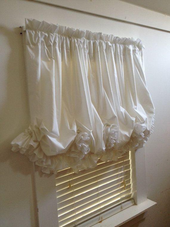 Custom White Double Ruffle Balloon Curtain by MimiAndMe2 on Etsy